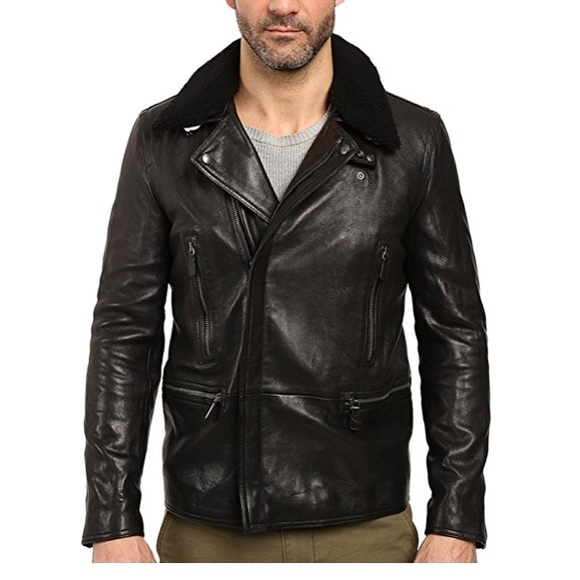bf2662d73f4 Coach Long Leather Moto Jacket w  Shearling Collar